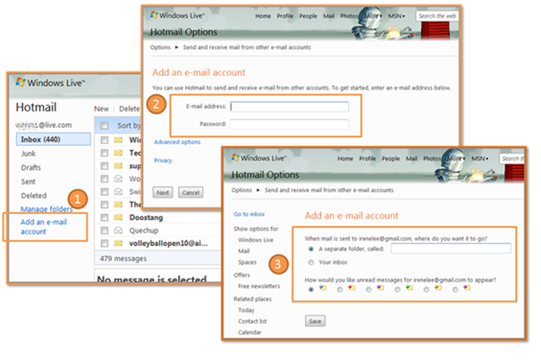 image of adding an e-mail account to Hotmail